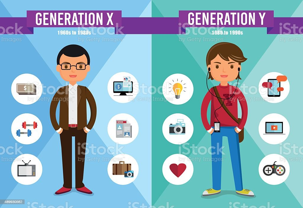Generation X, Generation Y - cartoon character royalty-free stock vector art