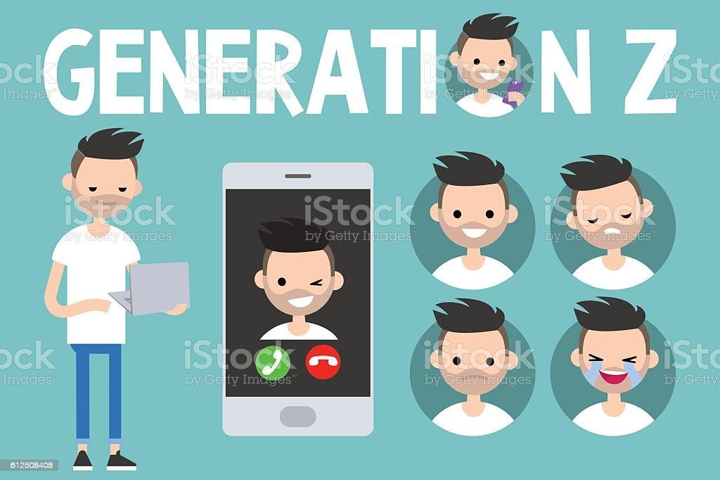 Generation Z conceptual set vector art illustration