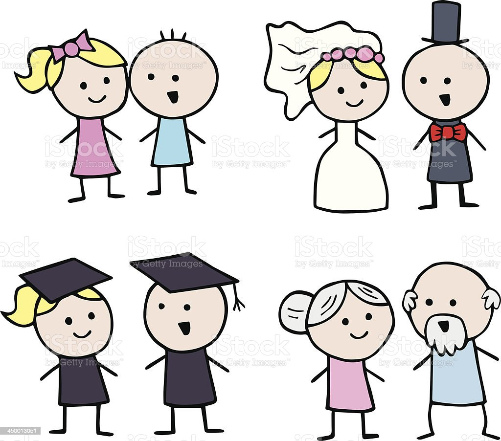 Generations of Stickmen Young, Wedding, Graduation, Old royalty-free stock vector art