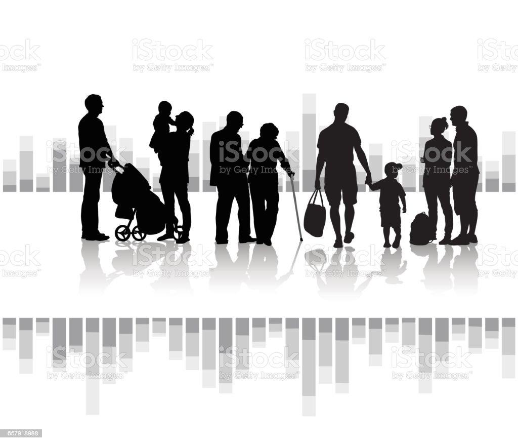 Generations vector art illustration