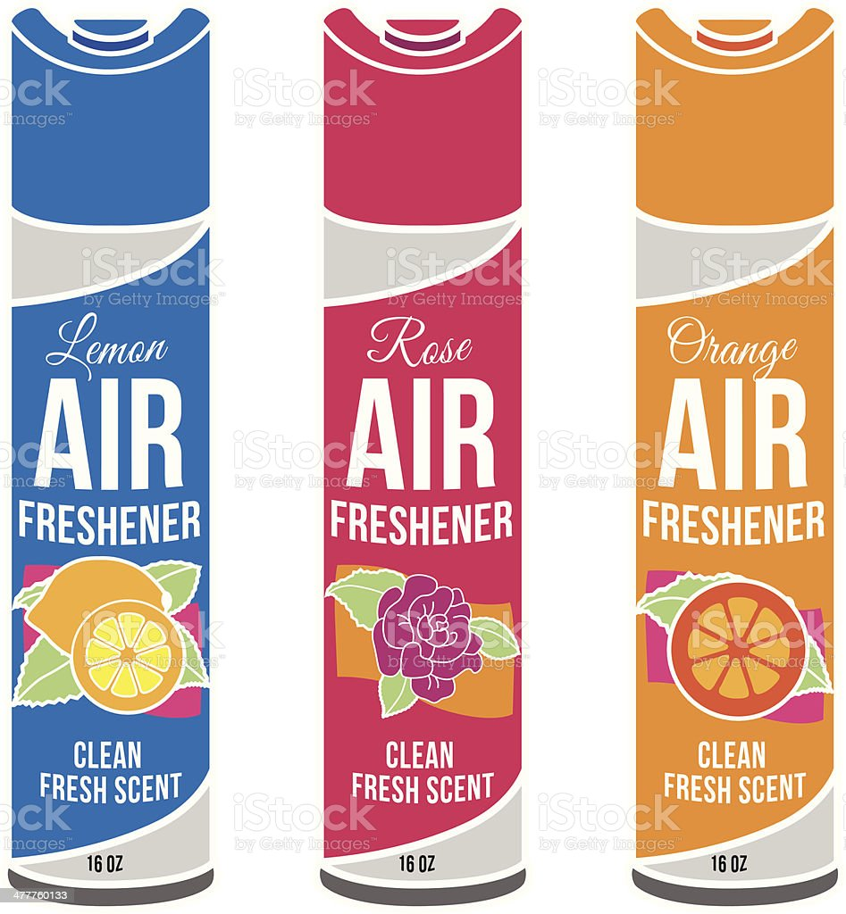 generic air fresheners in different scents vector art illustration