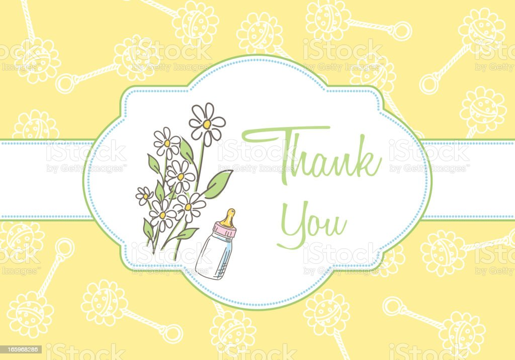 Generic Baby Thank You Note Greeting Card royalty-free stock vector art