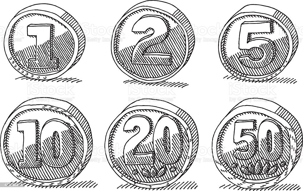 Generic Coins Money Set Drawing royalty-free stock vector art