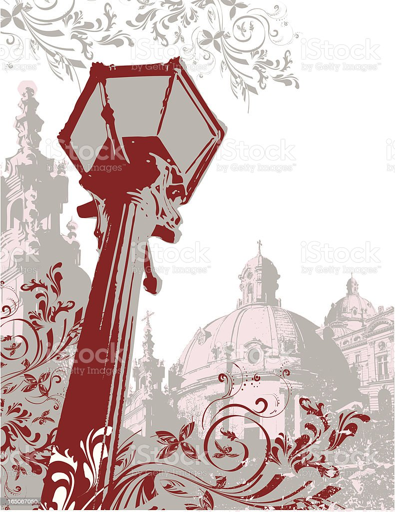 Generic European City  with Lamppost royalty-free stock vector art