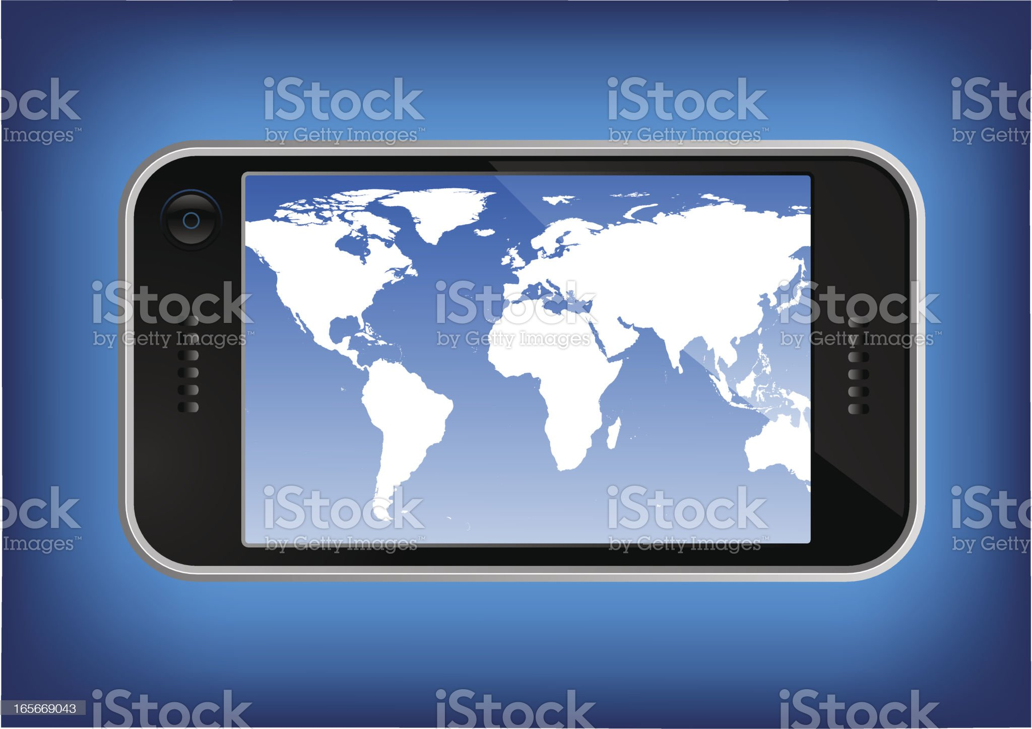 Generic GPS device with world map royalty-free stock vector art