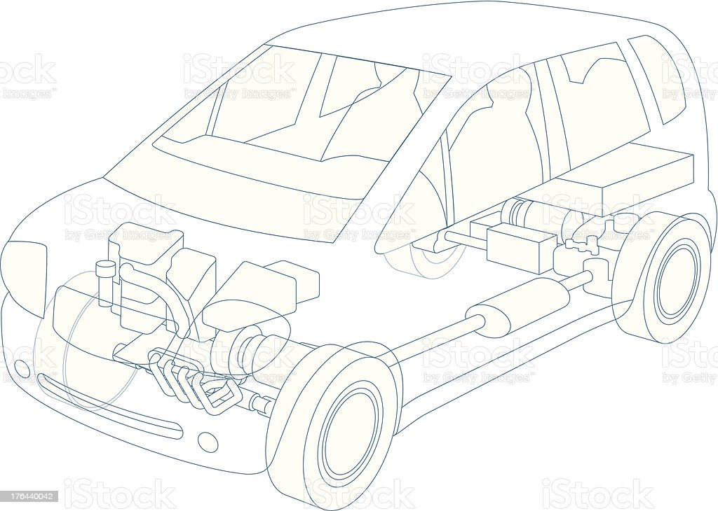 Generic hybrid vehicle, petrol and electric driven royalty-free stock vector art