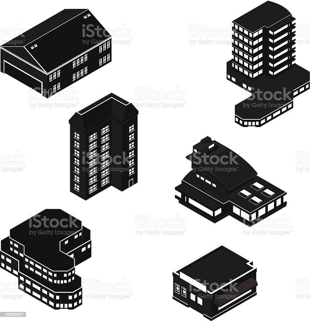 Generic Isometric Buildings vector art illustration