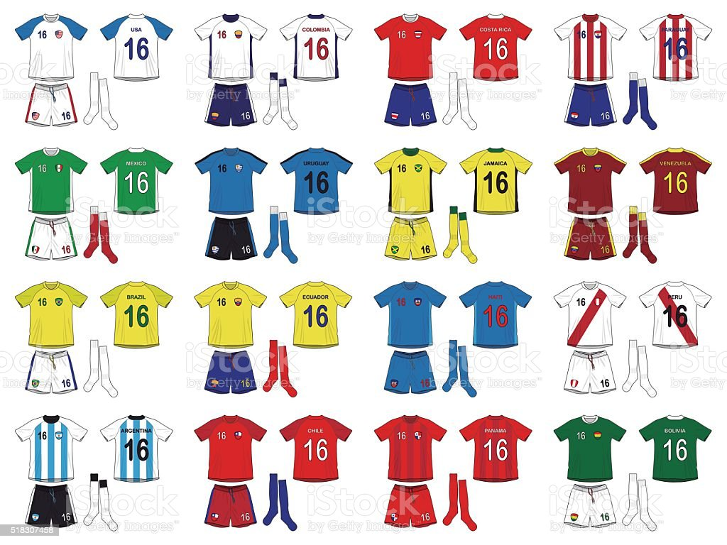 Generic Kits National Teams of America vector art illustration