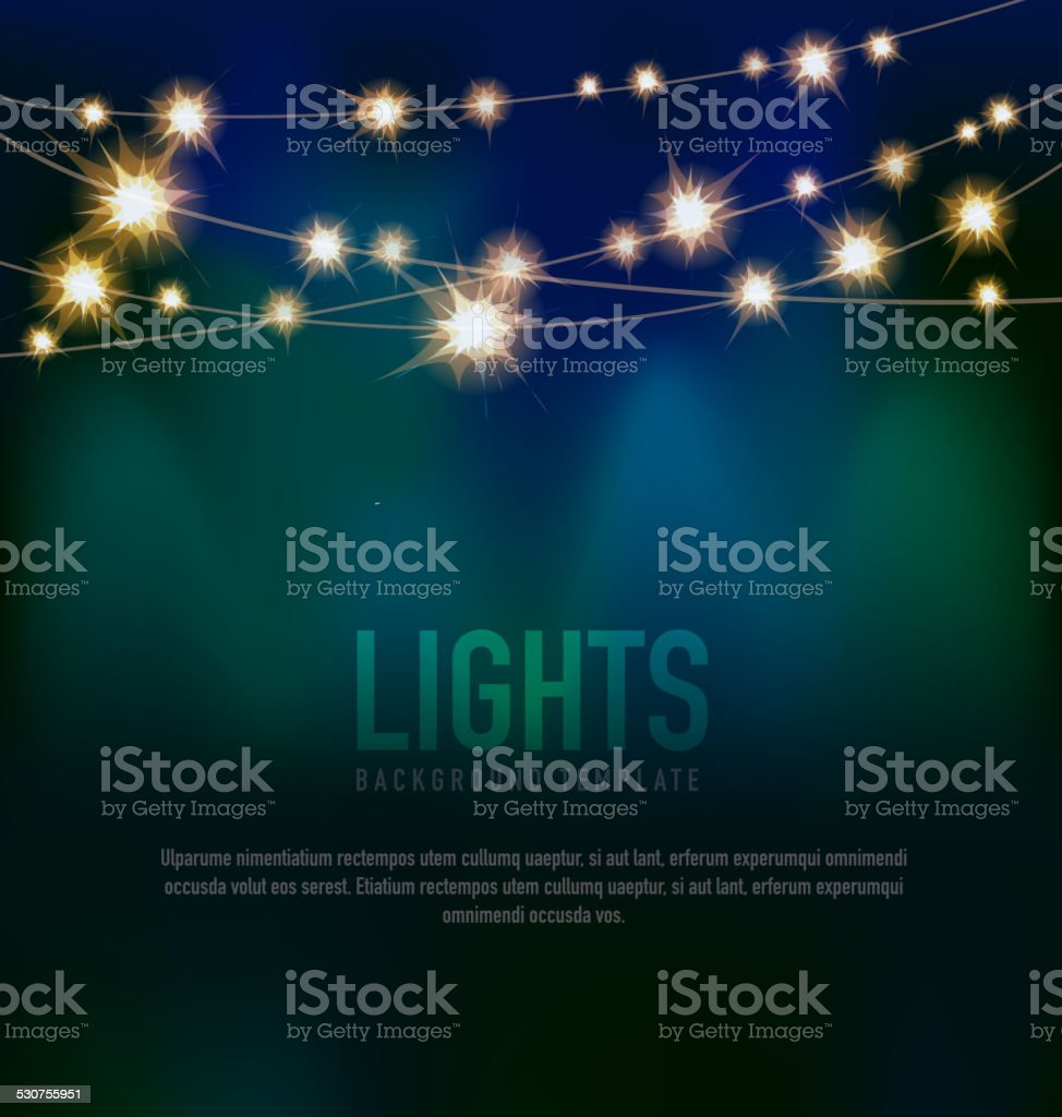 Generic Lights design template with string lights black teal background vector art illustration