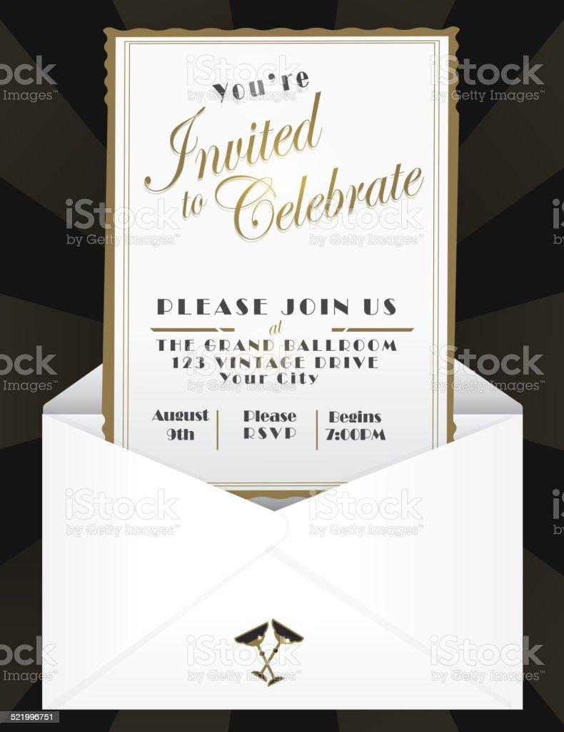 Generic opened envelope invitation design template vector art illustration