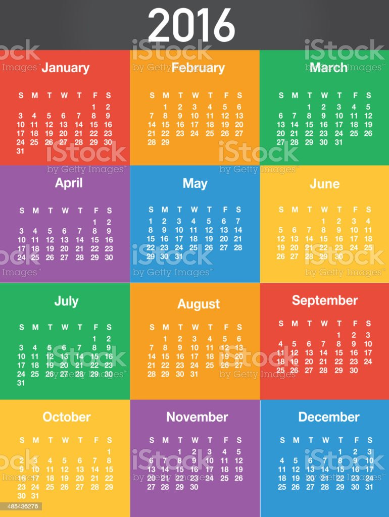 2016 Generic colorful printable calendar design template layout vector art illustration