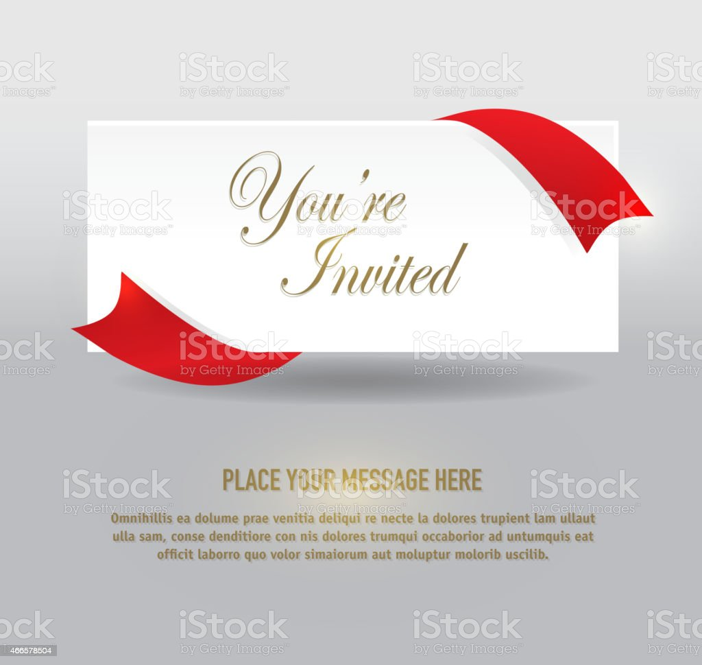 Generic  red and gold silver ribbon invitation template design vector art illustration