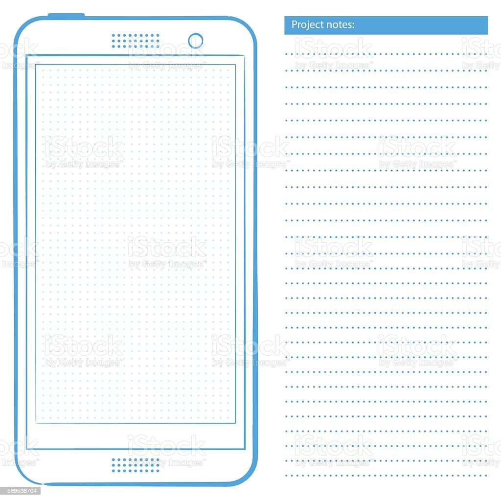 Generic smartphone template with dot grid vector art illustration