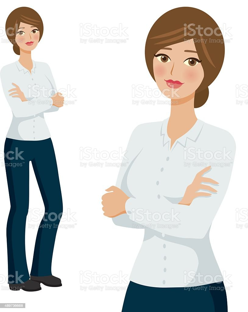 Generic Uniform Professional Woman Icons, Full Body and Waist Up vector art illustration
