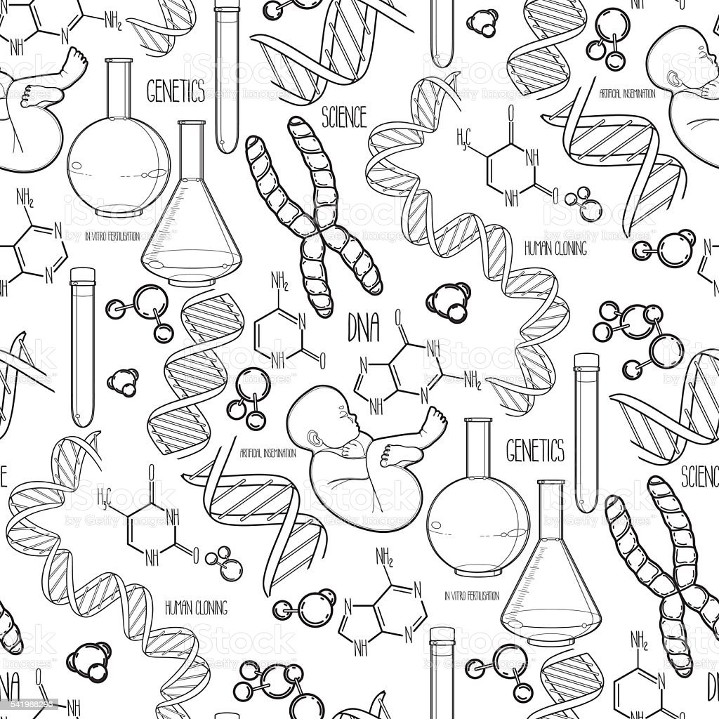 Genetic research pattern vector art illustration