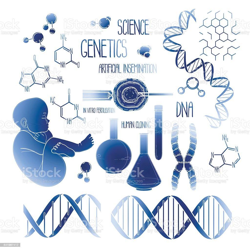Genetic research set vector art illustration