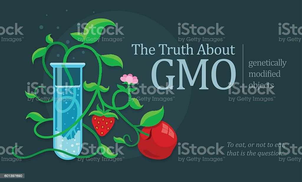 GMO genetically modified fruits growing in test tube vector art illustration
