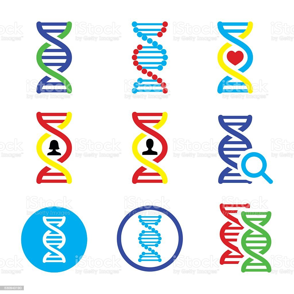 DNA, genetics vector icons set vector art illustration