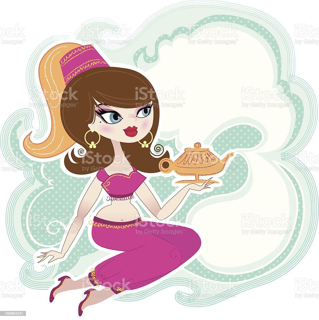 Genie and Magic Bottle vector art illustration
