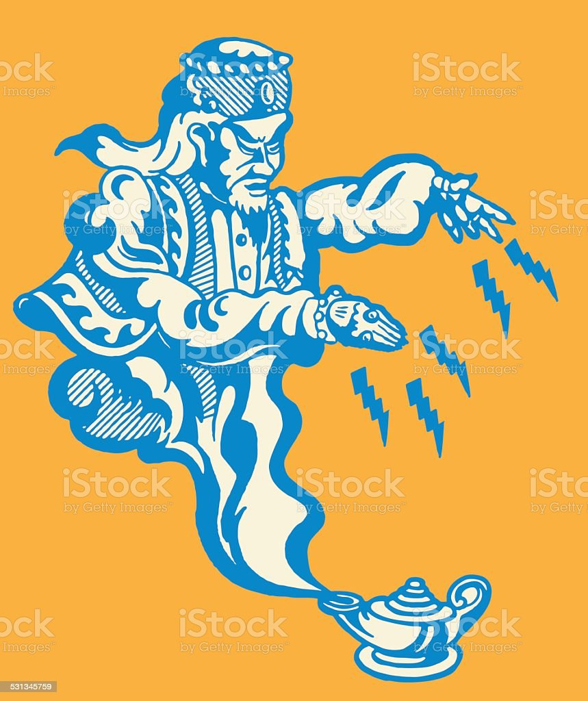 Genie Coming out of Lamp vector art illustration