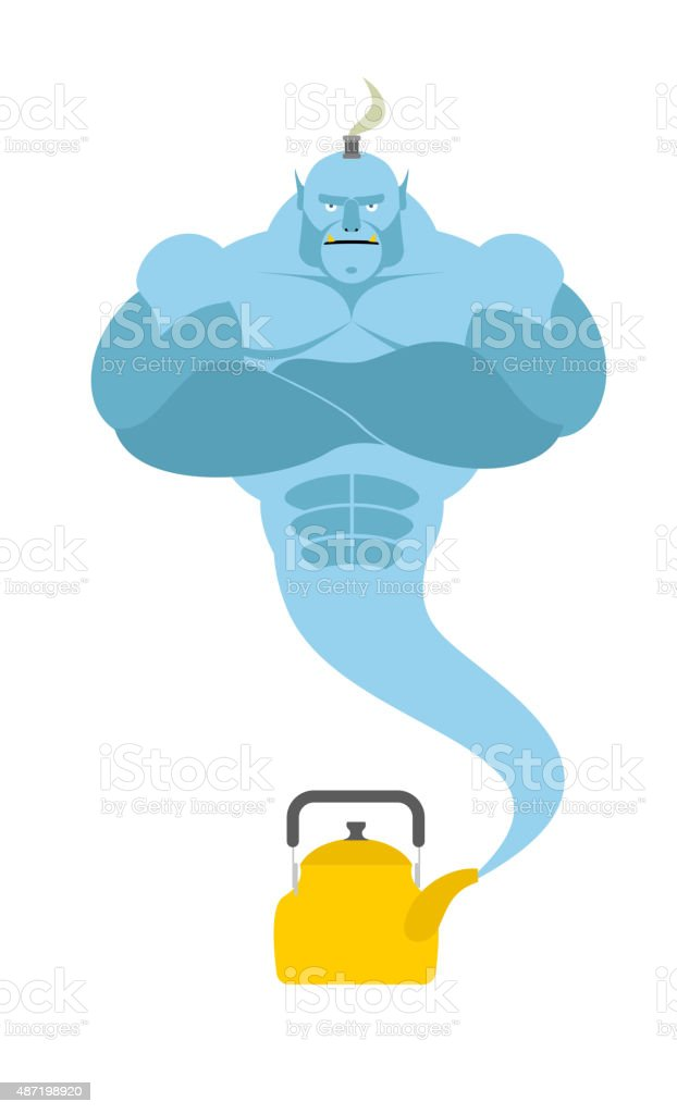 Genie from  kettle. Blue Magic spirit fulfills desires. vector art illustration