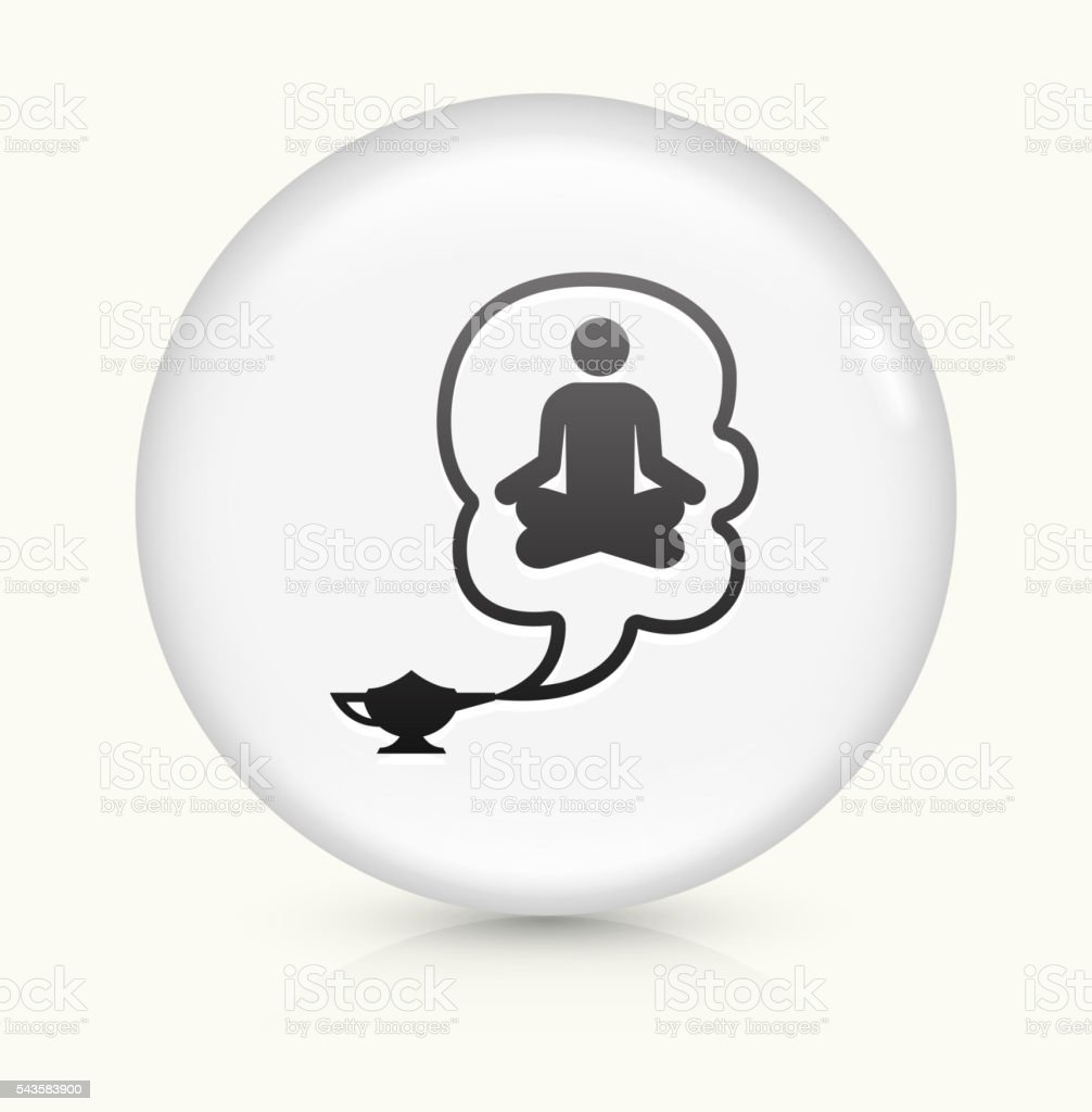 Genie in a Lamp icon on white round vector button vector art illustration