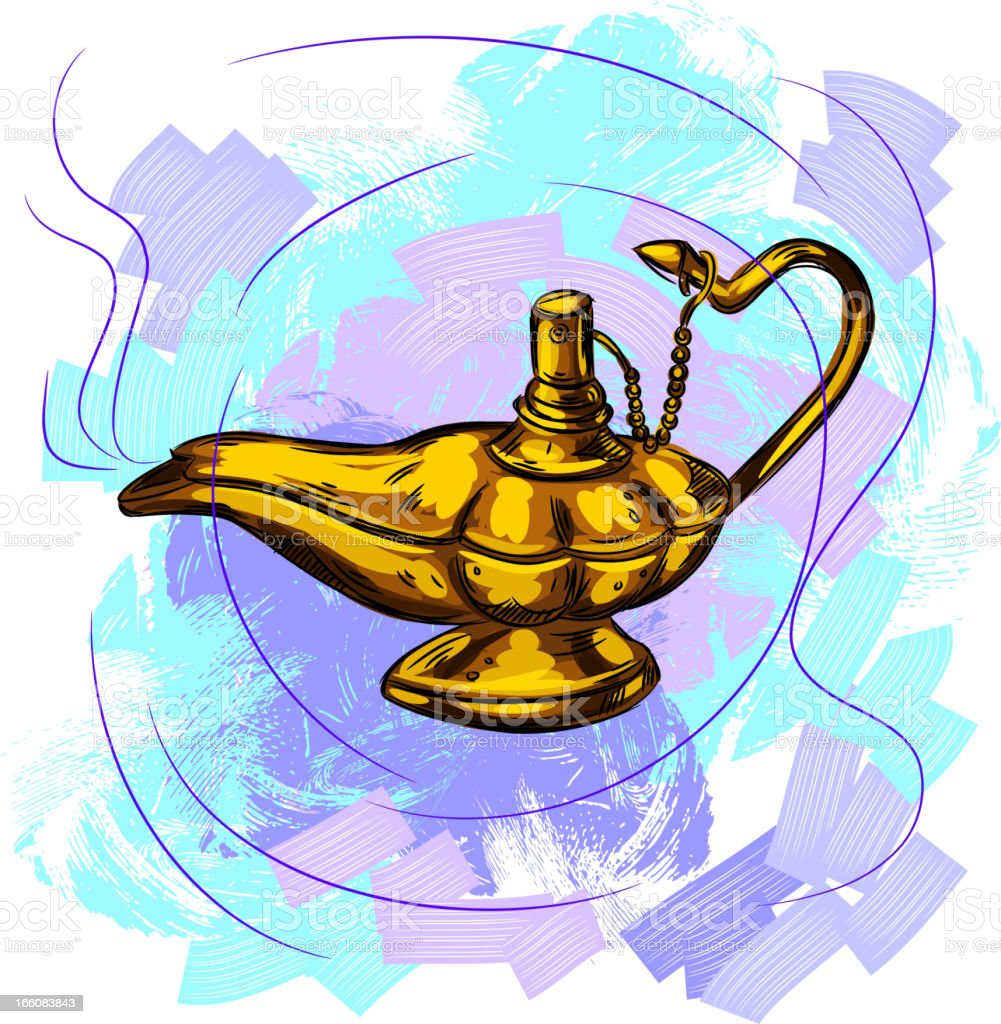 Genie lamp vector art illustration
