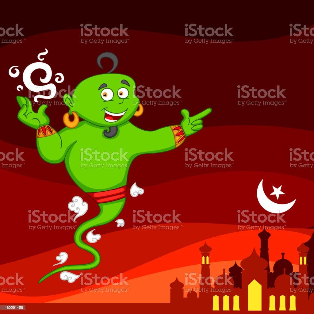Genie wishing Eid mubarak vector art illustration