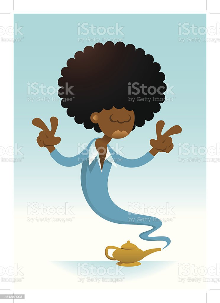Genie with Afro showing peace sign royalty-free stock vector art