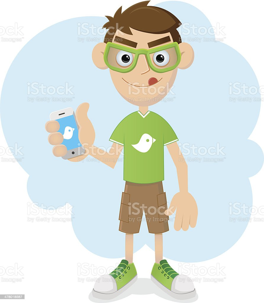 Genius Boy with phone royalty-free stock vector art