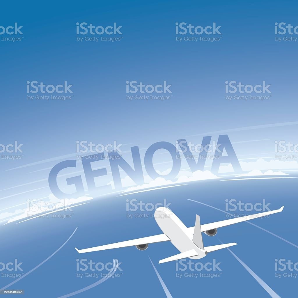 Genoa Flight Destination vector art illustration