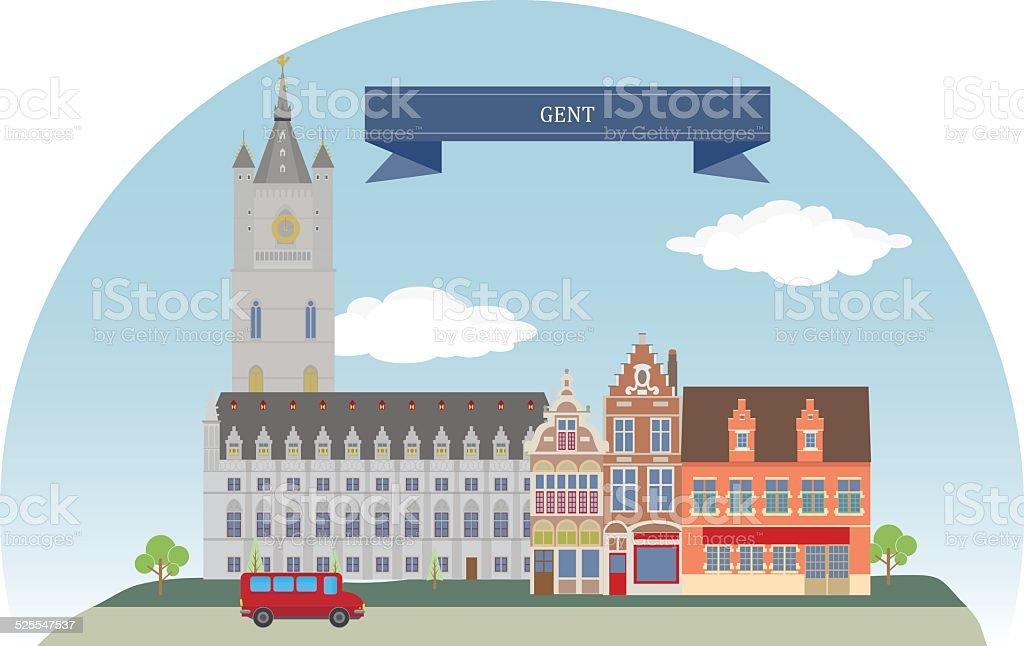 Gent, Belgium, vector art illustration