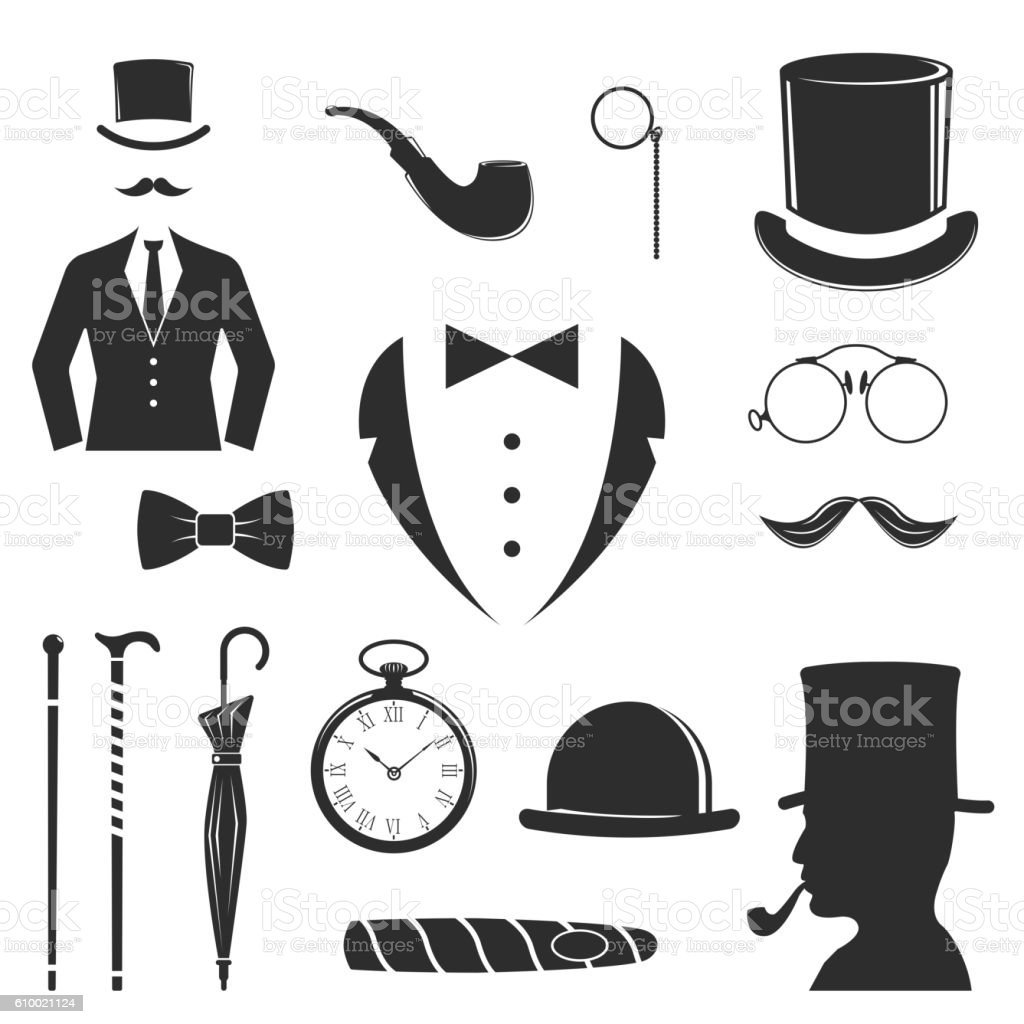 Gent icons vector set. vector art illustration