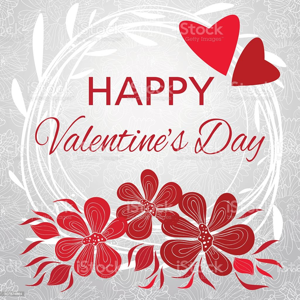 Gentle Valentines Card With Decorative Flowers And White Lace – Flower Valentine Card