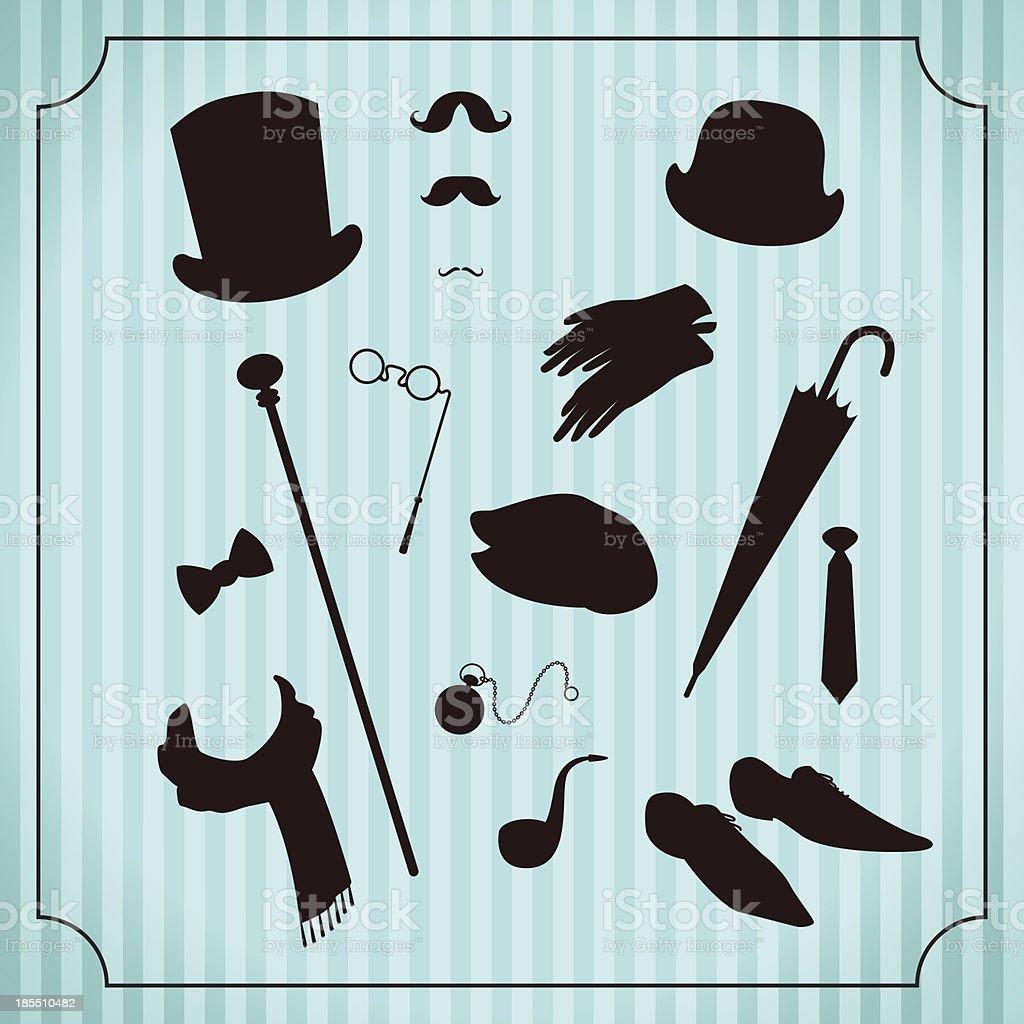 Gentleman accessories set vector art illustration