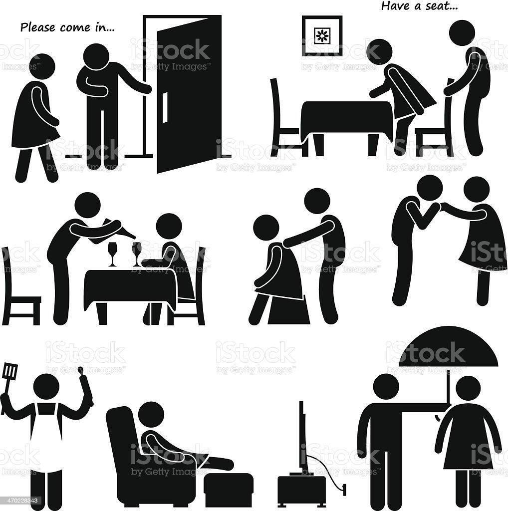 Gentleman Courteous Man Boyfriend Husband Stick Figure Pictogram Icon vector art illustration