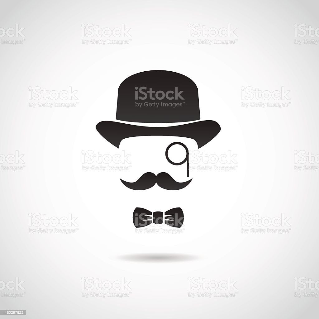 Gentleman face. Icon isolated on white background. vector art illustration