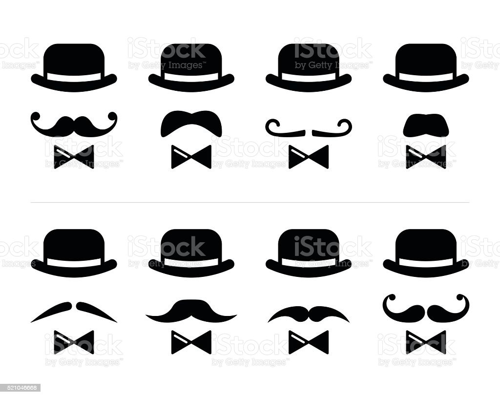 Gentleman icon - man with moustache and bow tie set vector art illustration