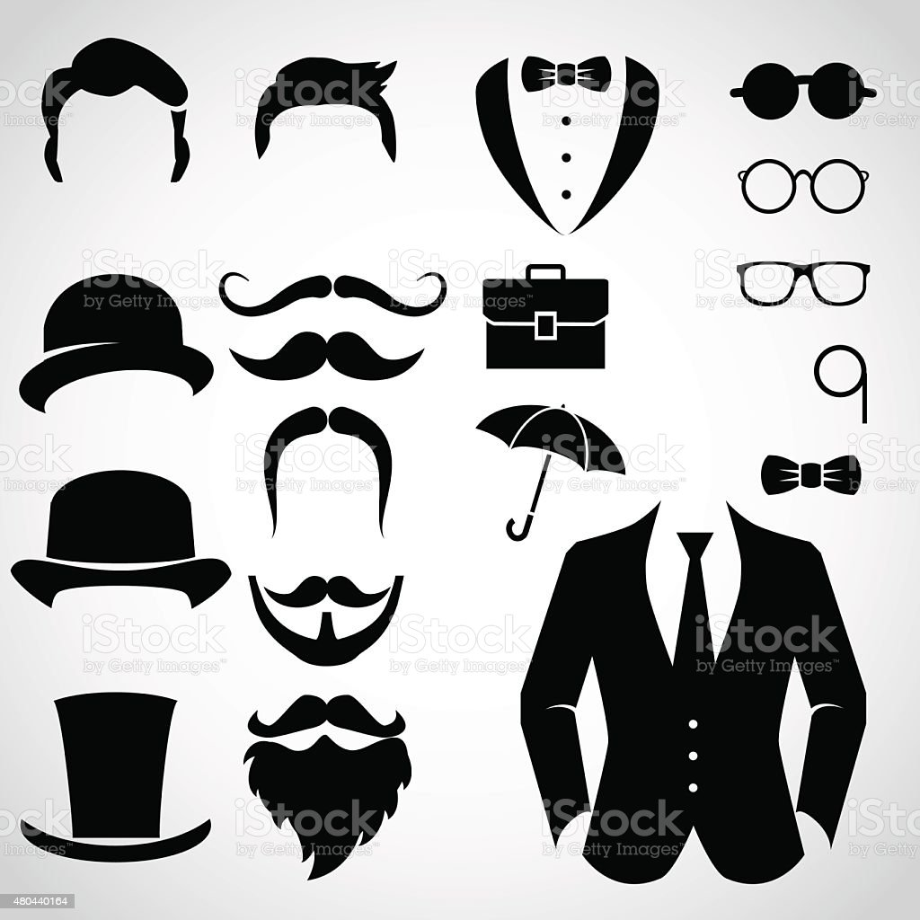 Gentleman icon set. vector art illustration