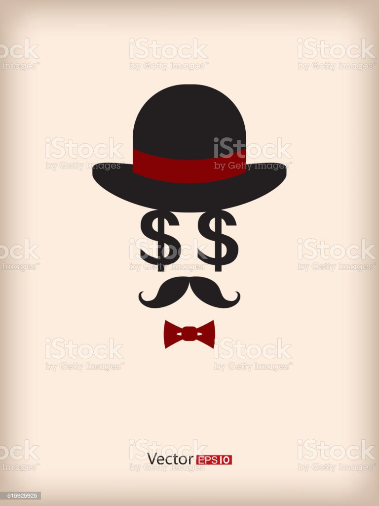 Gentleman like money vector art illustration