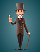 Gentleman Victorian Business Cartoon Character Icon English Isolated Background Retro