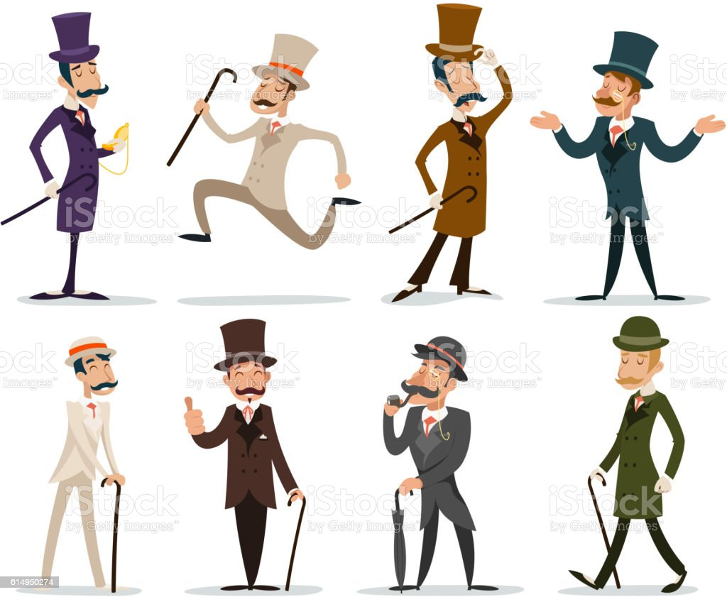 Gentleman Victorian Business Cartoon Character Icon Set English Isolated Background vector art illustration