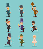 Gentleman Victorian Characters Different Poses and Actions Icons Set Isolated