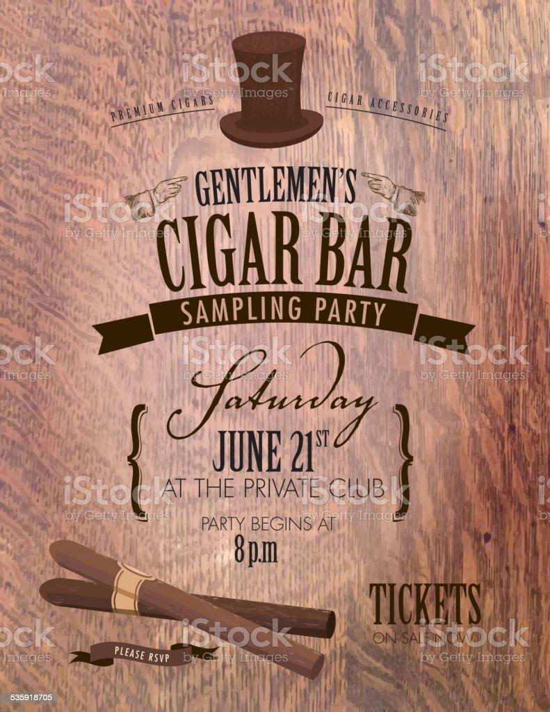 Gentlemen's cigar party invitation design vector art illustration