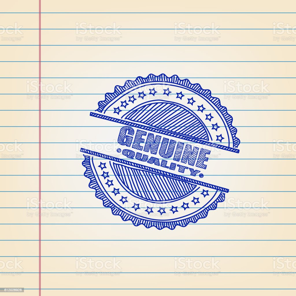Genuine Quality Label Drawing on Ruled Paper vector art illustration