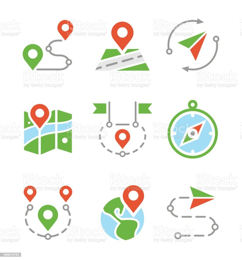 Geo location, travel, journey, map marker flat colored vector icons vector art illustration