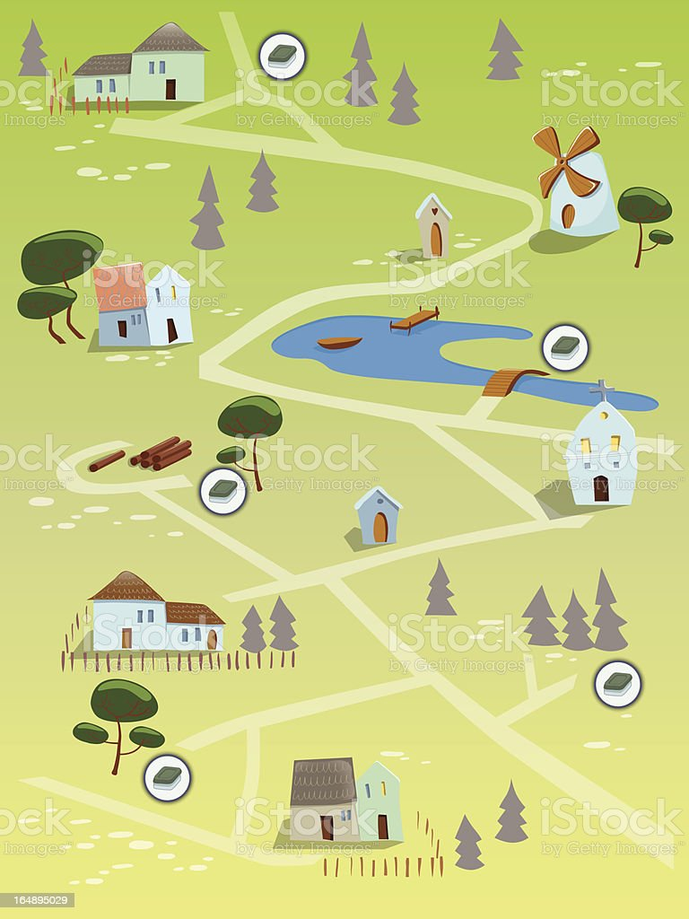 Geocaching map royalty-free stock vector art