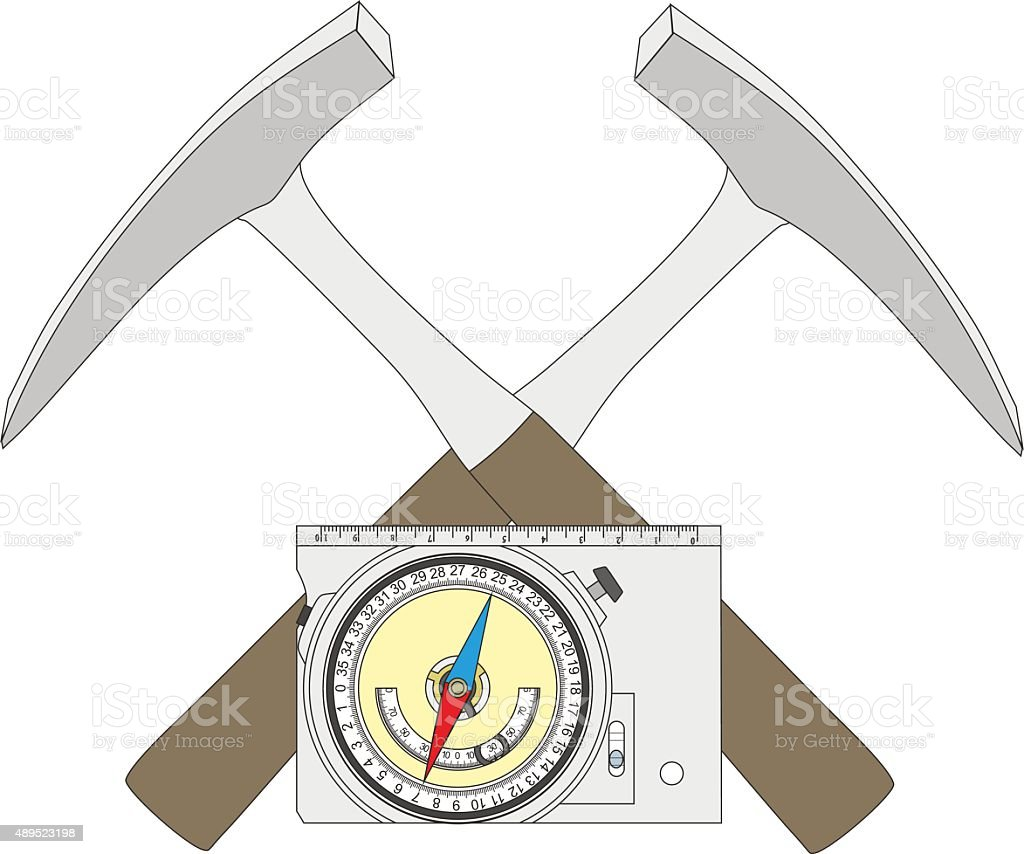 Geological compass and geological hammers. vector art illustration