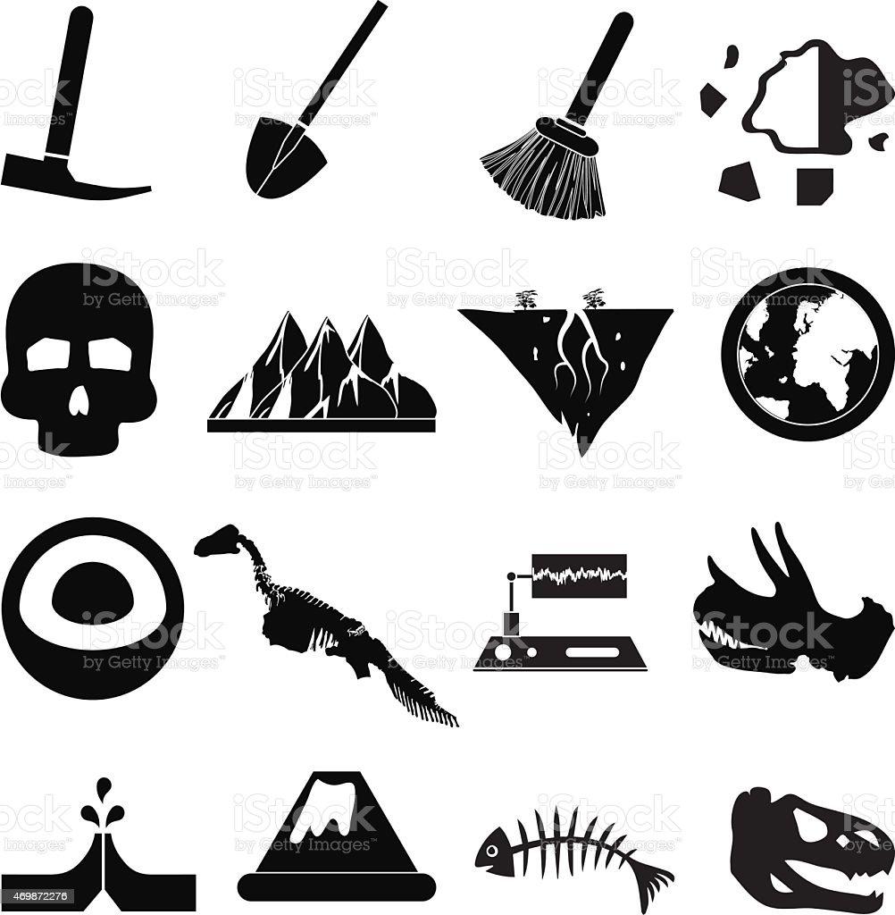 Geology icons set vector art illustration