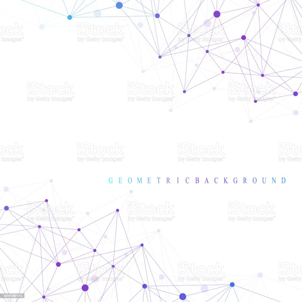 Geometric abstract background with connected line and dots. Vector illustration. vector art illustration